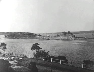 Garden Island viewed from the Domain in 1889