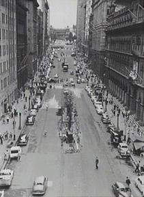 Martin Place viewed from George Street in 1956