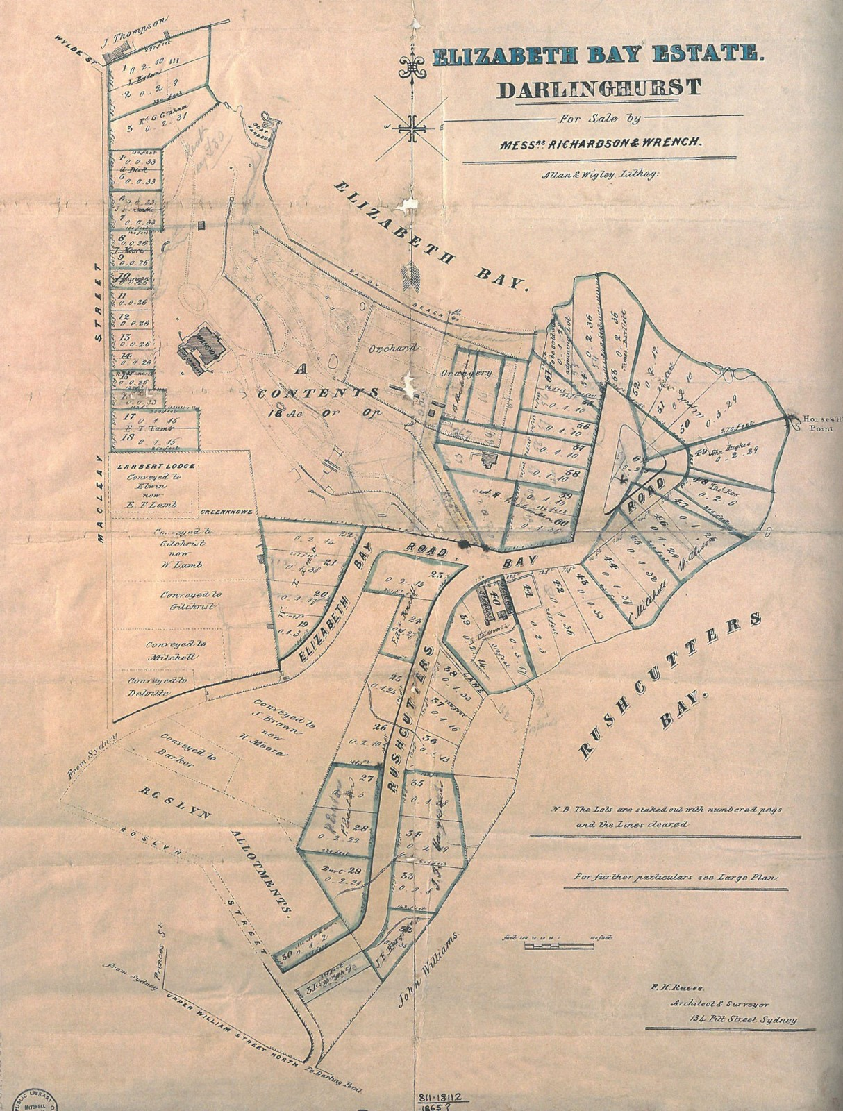 Elizabeth Bay Estate - The 1875 subdivision plan showing the network of paths that led down to Macleay's botanic garden, and the orchard. (Source: Mitchell Library, M2 811.18112/1865/1)